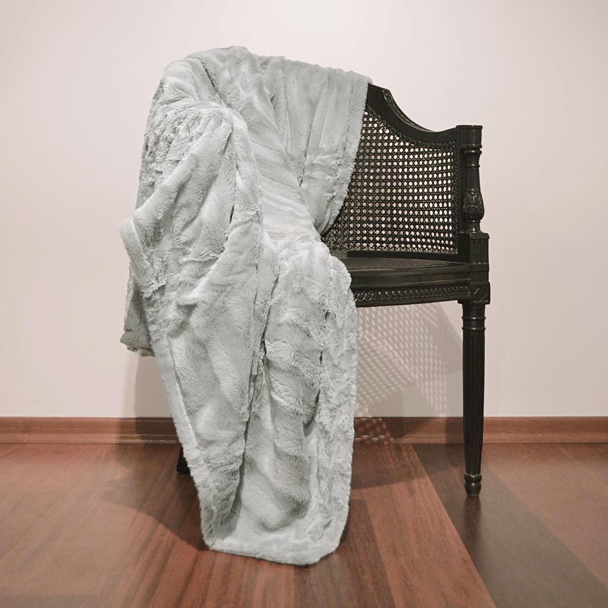 plaid fausse fourrure grizzly gris ebay. Black Bedroom Furniture Sets. Home Design Ideas