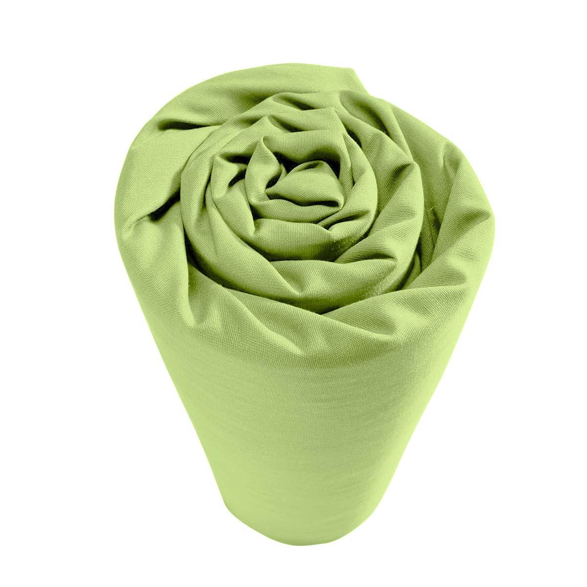 Drap housse pour lit articul coton polyester vert uni 2 for Drap housse definition